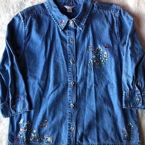 4/$25 Embroidered Denim Button Up